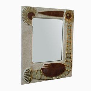 Spiegel mit Keramikrahmen von Francois Lembo, 1960er