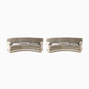 Vintage Italian Curved Sofas, Set of 2