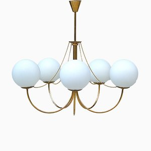 Opaline Glass and Brass Ceiling Lamp, 1930s