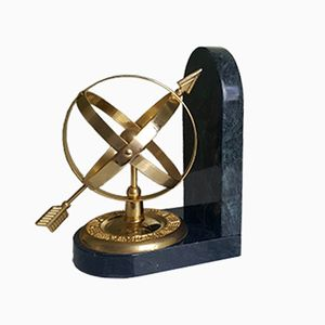 Astrolabium Buchstützen aus Grünem Marmor & Vergoldetem Stahl, 1980er, 2er Set