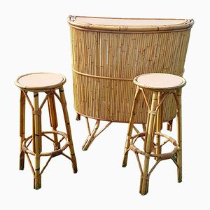 Bamboo Bar with 2 High Rattan Stools, 1960s