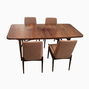 British Extendable Tulipwood Dining Table & 8 Chairs by Hamilton for Archie Shine, 1960s