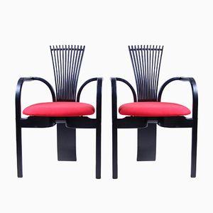 Chaises de Salon Noires et Rouges Vintage, Set de 2