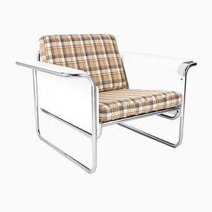 Dänischer Sessel mit Gebogenen Schichtholz Armlehnen in Weiß, 1960er