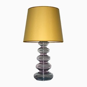 Mid-Century Floor Lamp with Violet Glass Base from Nikoll Vienna