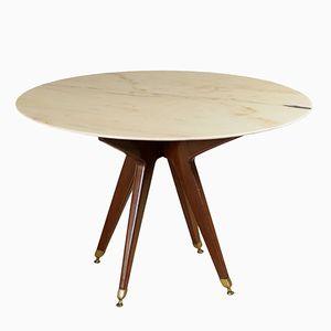 Tisch aus Gebeiztem Mahagoni, Messing & Marmor, 1950er