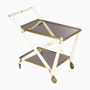 Vintage Italian Service Cart in Lacquered Wood, Brass, and Glass, 1950s