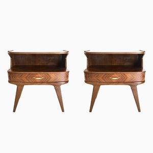 Italian Walnut Nightstands, 1950s, Set of 2