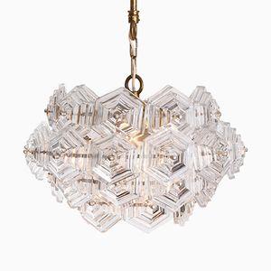 Sechseckiger Kristallglas Kronleuchter, 1960er