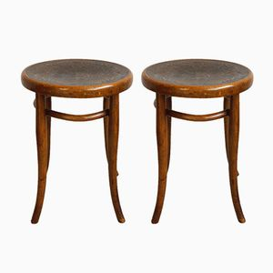 Vintage Bentwood Stools by Michael Thonet for Thonet, 1900s, Set of 2