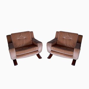 Lounge Chairs with Rocking System, 1970s, Set of 2