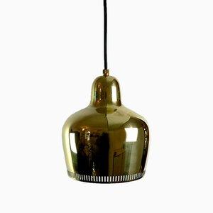 Vintage Goldene Glocke Hängelampe von Alvar Aalto für Artek