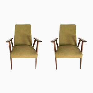Italian Fabric and Wooden Armchairs, 1950s, Set of 2