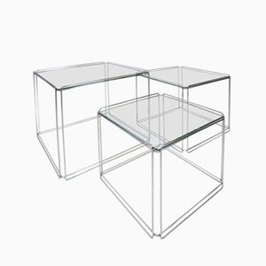 Minimalist Isocele Chrome Nesting Tables by Max Sauze for Groupe S.A., 1970s