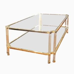 Vintage Large Gilt Metal & Glass Coffee Table