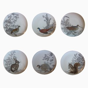 Vintage Selvaggina Series Plates by Piero Fornasetti, Set of 6