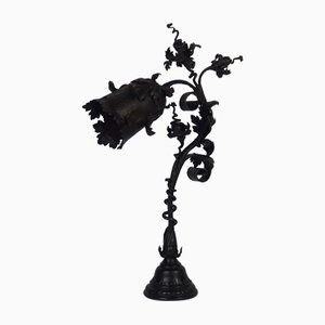 Antique Art Nouveau Wrought Iron Table Lamp by F. Marrol