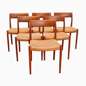 Vintage No. 77 Teak Dining Chairs by Niels Møller for J.L. Møllers, Set of 6