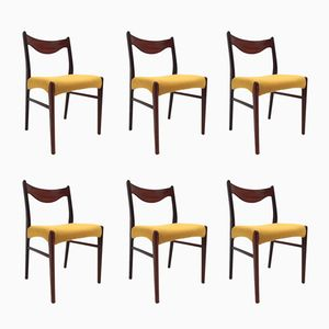 Danish Rosewood & Yellow Wool Dining Chairs, 1960s, Set of 6