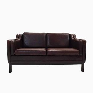 Danish Dark Brown Leather Two-Seater Sofa, 1960s
