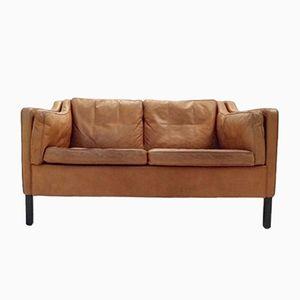 Danish Caramel Tan Brown Leather Two-Seater Sofa, 1960s