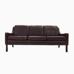 Danish Dark Brown Leather Three-Seater Sofa, 1960s