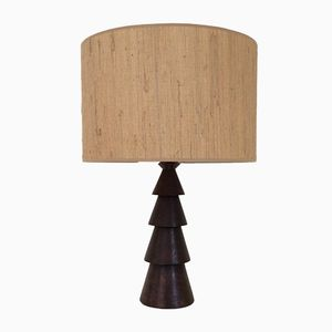 Large Wooden Table Lamp, 1940s