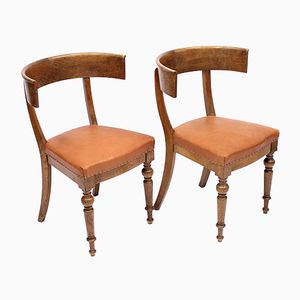 Antique Oak Klismos Chairs, Set of 2