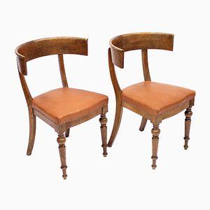 Antique Oak Klismos Chairs, Set of 2