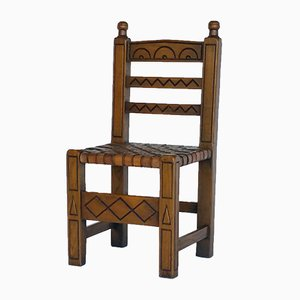Spanish Chair mit Geflochtenem Ledersitz, 1960er
