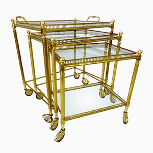 Vintage Nesting Bar Trolleys by Maison Jansen for Maison Bagues