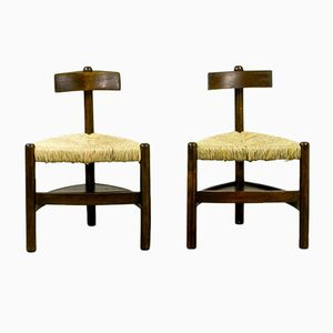 Oak Tree and Rush Chairs, 1960s, Set of 2