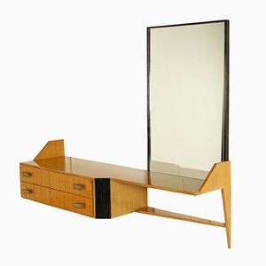 Mid-Century Italian Dressing Table with Mirror and Drawers in Maple Veneer with Brass Handles