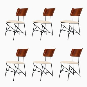 Italian Dining Chairs by Carlo Ratti for Legni Curva, 1950s, Set of 6