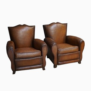 French Cognac Moustache Back Leather Club Chairs, 1940s, Set of 2