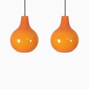 Lampade in vetro arancione di Peill & Putzler, anni '70, set di 2