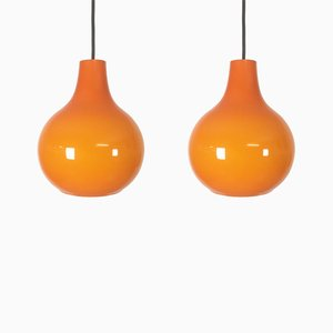 Lampes à Suspension en Verre Orange de Peill & Putzler, 1970s, Set de 2