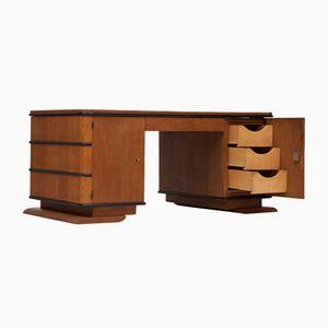 Art Deco Streamlined Oak Desk, 1930s