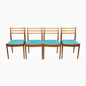 Mid-Century Esszimmerstühle aus Teak & Stoff von G-Plan, 4er Set
