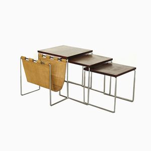 Nesting Tables in Rosewood, Metal, and Leather from Brabantia, 1960s