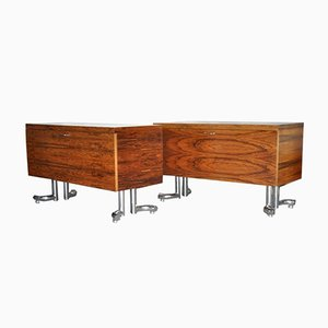Rosewood & Chrome Cabinets, 1970s, Set of 2