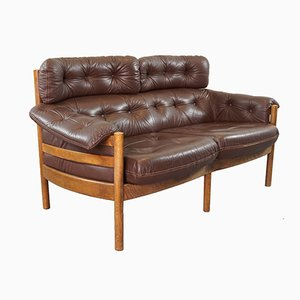 Vintage Tufted Leather Sofa by Arne Norell for Coja