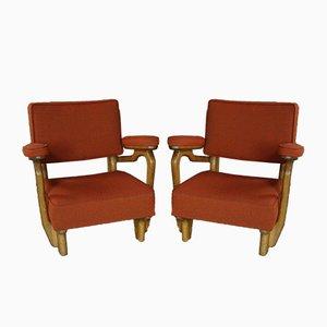 Sessel aus Massivem Eichenholz von Guillerme and Chambron für Votre Maison, 1950er, 2er Set