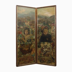 Victorian Two- Sided Screen
