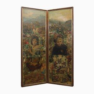 Viktorianischer Zweiseitiger Wandschirm