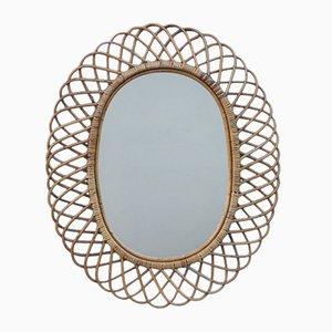Mid-Century Bamboo Framed Mirror from Pierantonio Bonacina