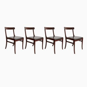 Mid-Century Mahagoni Stühle von Ole Wanscher für Poul Jeppesens Møbelfabrik, 4er Set