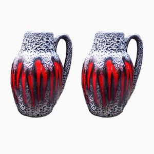West German Fat Lava Vases from Scheurich, 1950s, Set of 2