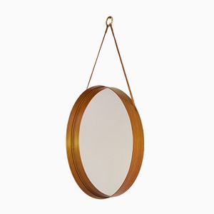 Round 102 Wall Mirror with Leather Hanging Strap from Glass Master, 1960s