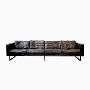 4-Seater Sofa in Black Leather and Blackened Metal from Carl Auböck, 1960s